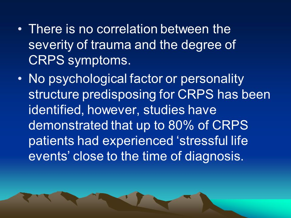 There is no correlation between the severity of trauma and the degree of CRPS symptoms.