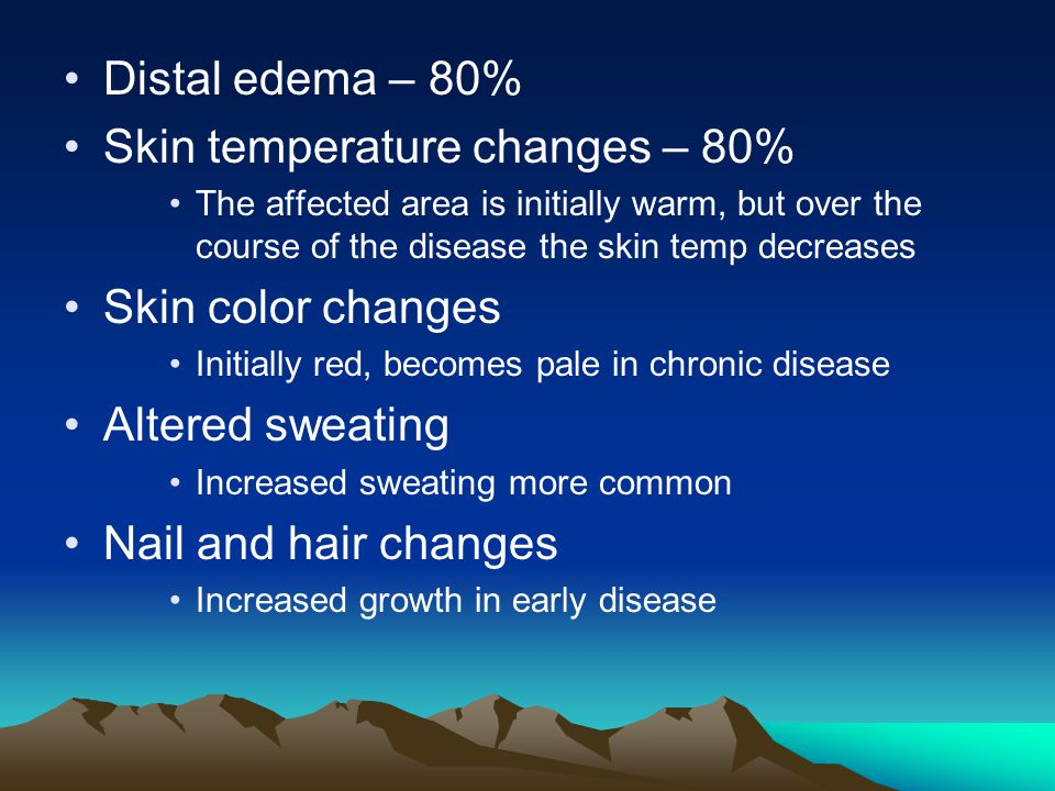 Skin temperature changes – 80%
