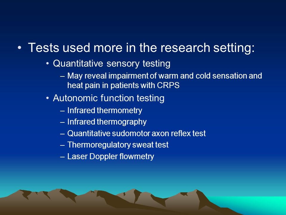 Tests used more in the research setting: