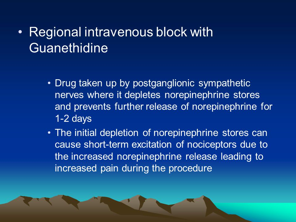 Regional intravenous block with Guanethidine