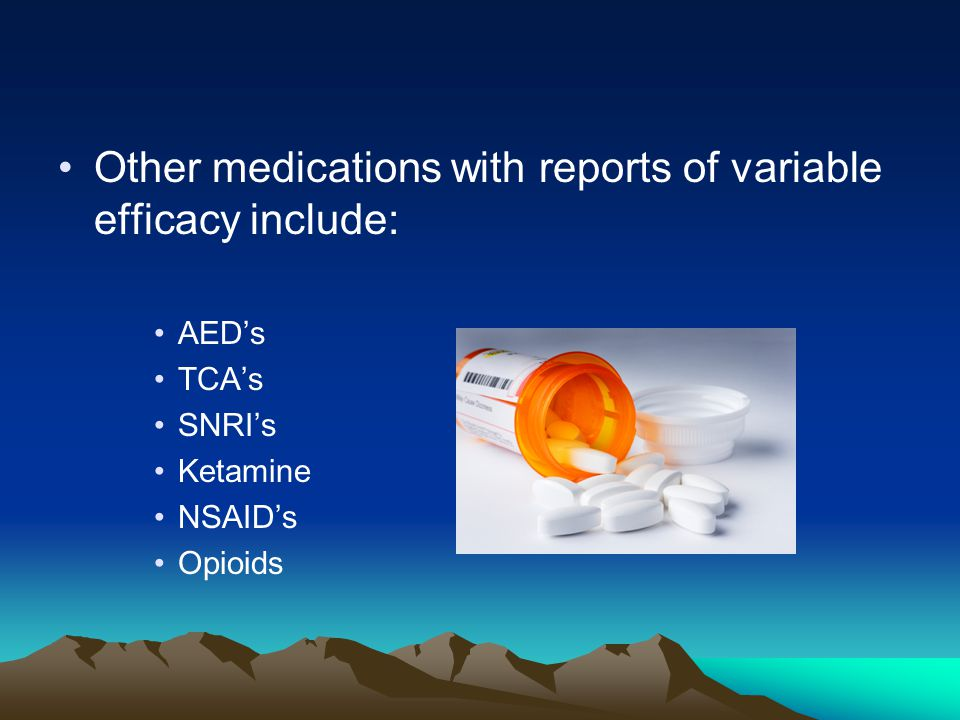 Other medications with reports of variable efficacy include:
