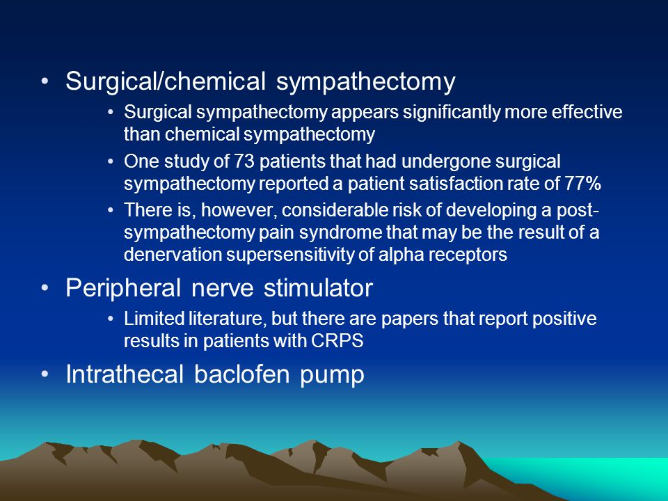 Surgical/chemical sympathectomy