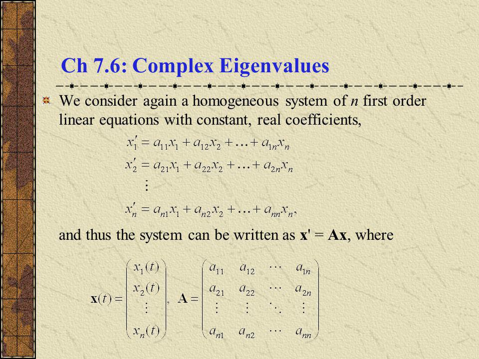 how to determine order of eigenvalues
