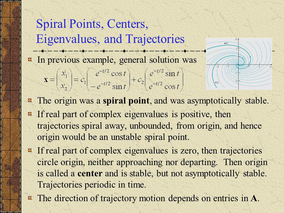 Spiral Points, Centers, Eigenvalues, and Trajectories