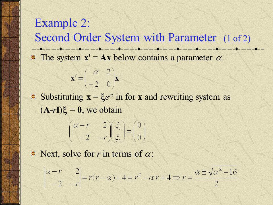 Example 2: Second Order System with Parameter (1 of 2)