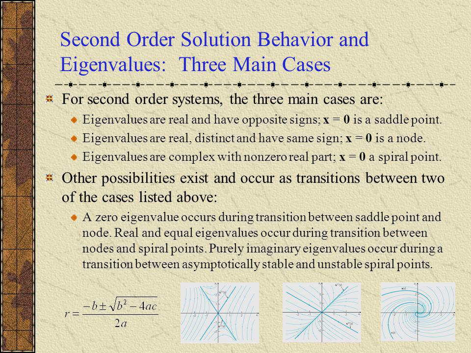 Second Order Solution Behavior and Eigenvalues: Three Main Cases