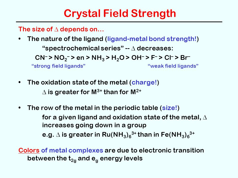 Crystal Field Strength