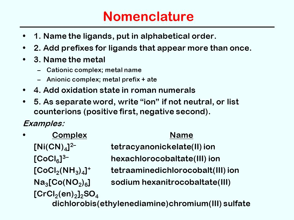 Nomenclature 1. Name the ligands, put in alphabetical order.