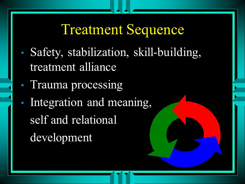 Treatment Sequence Safety, stabilization, skill-building, treatment alliance. Trauma processing. Integration and meaning,