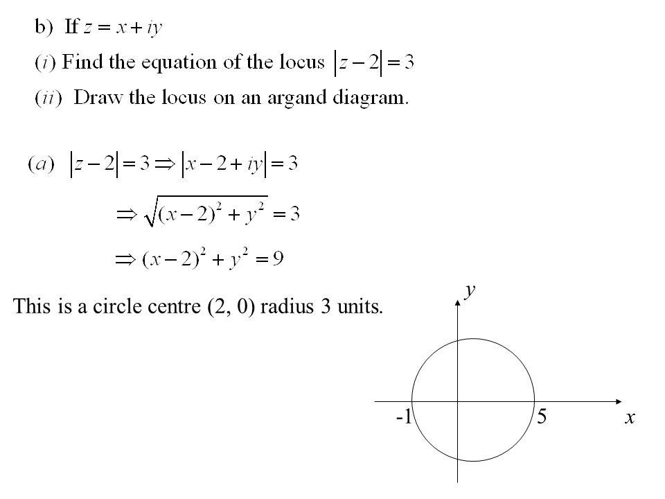 -1 5 y x This is a circle centre (2, 0) radius 3 units.