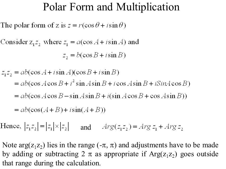 Polar Form and Multiplication