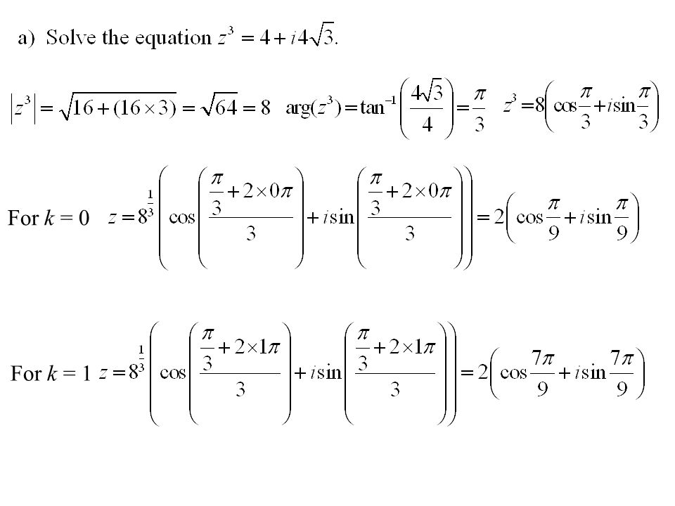 For k = 0 For k = 1
