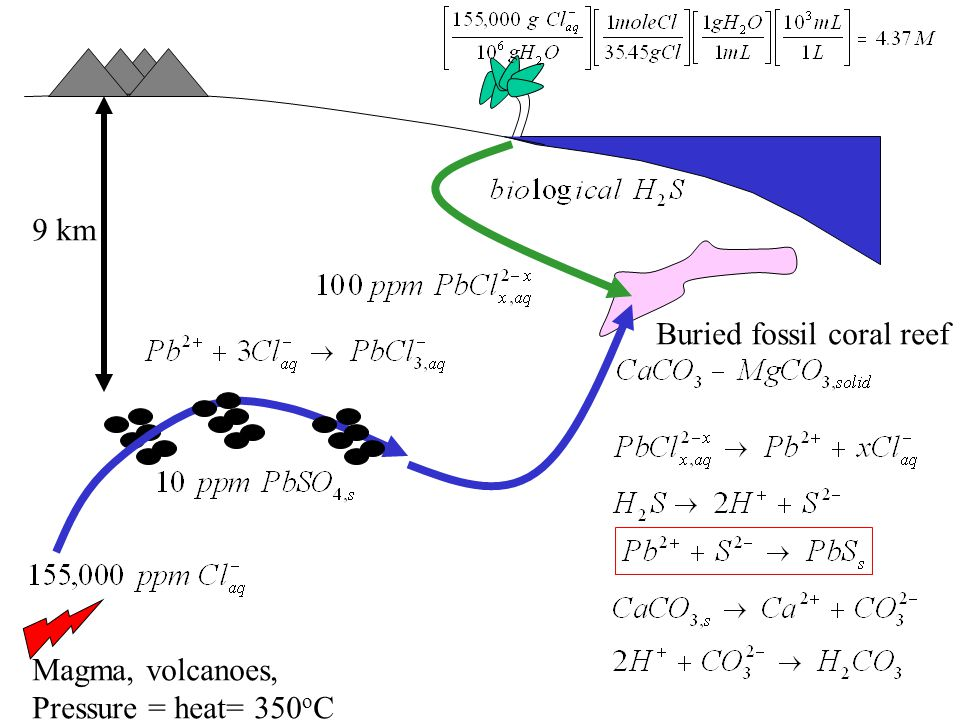 9 km Buried fossil coral reef Magma, volcanoes, Pressure = heat= 350oC
