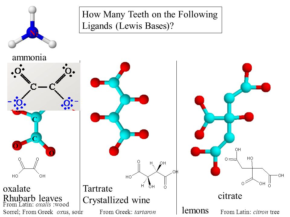 How Many Teeth on the Following Ligands (Lewis Bases)