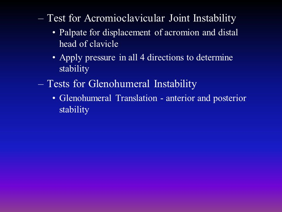 Test for Acromioclavicular Joint Instability