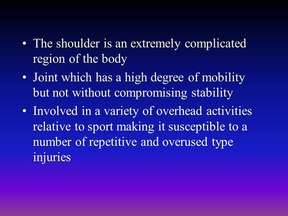 The shoulder is an extremely complicated region of the body