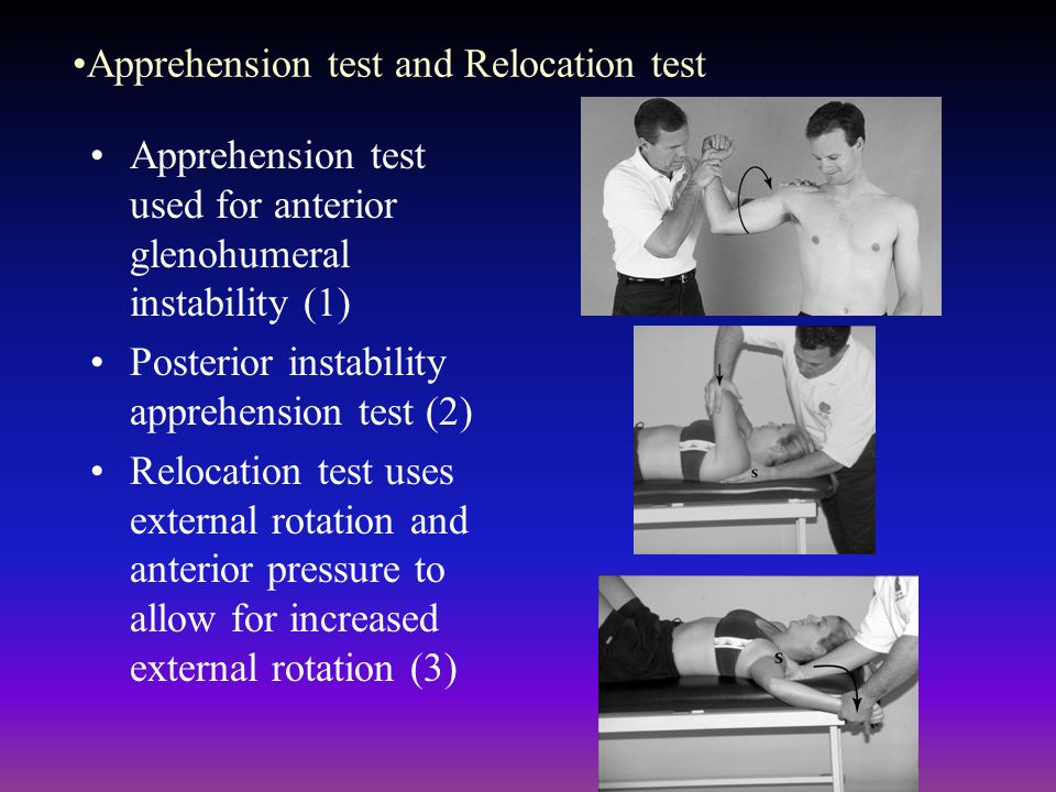 Apprehension test and Relocation test