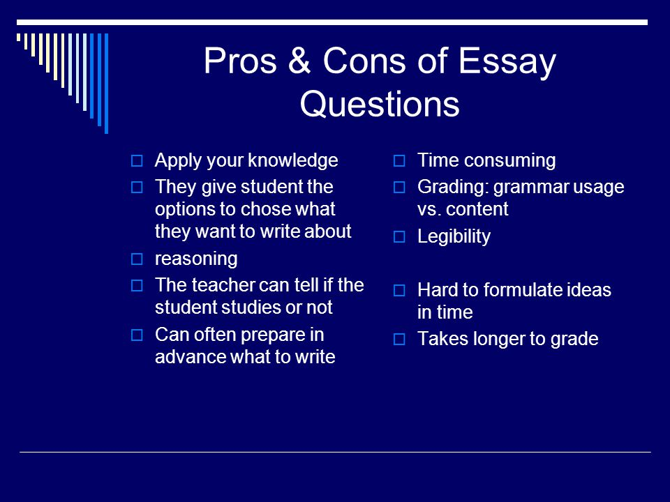 Pros & Cons of Essay Questions