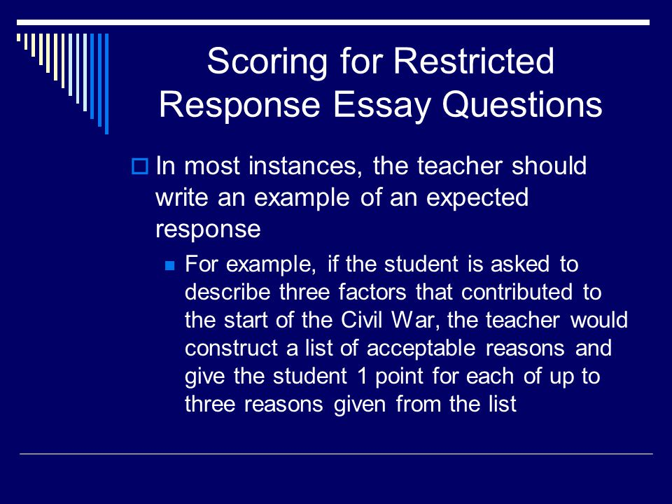 Scoring for Restricted Response Essay Questions