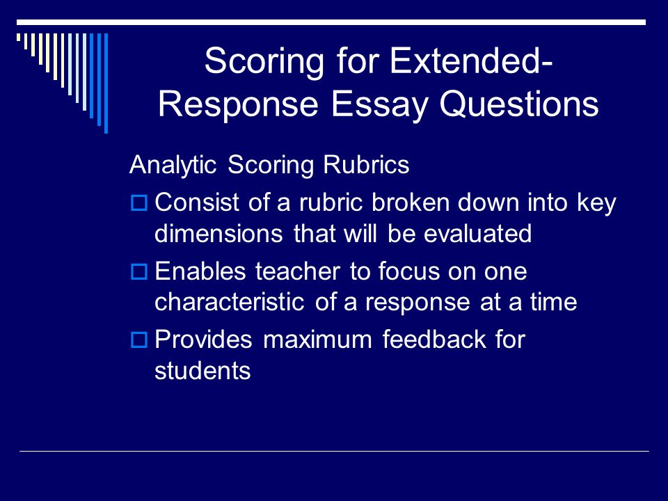 Scoring for Extended-Response Essay Questions