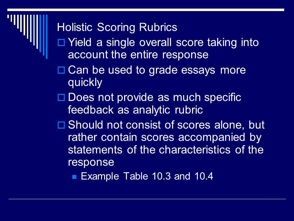 Holistic Scoring Rubrics