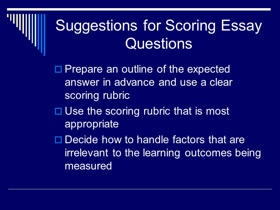Suggestions for Scoring Essay Questions