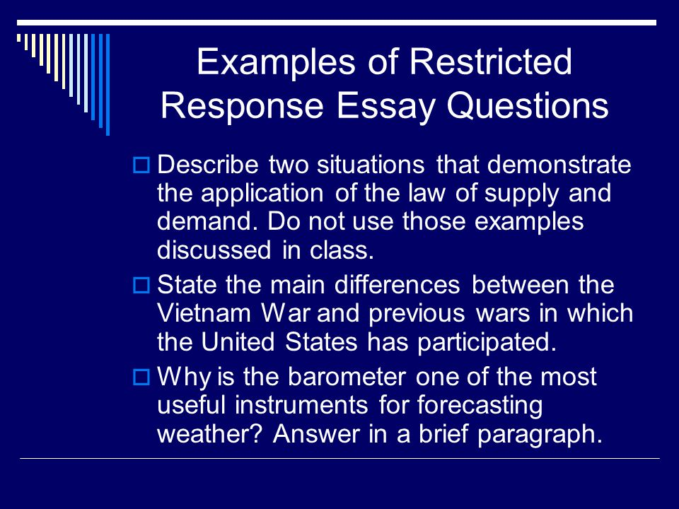 measuring complex achievement essay questions ppt video online  examples of restricted response essay questions