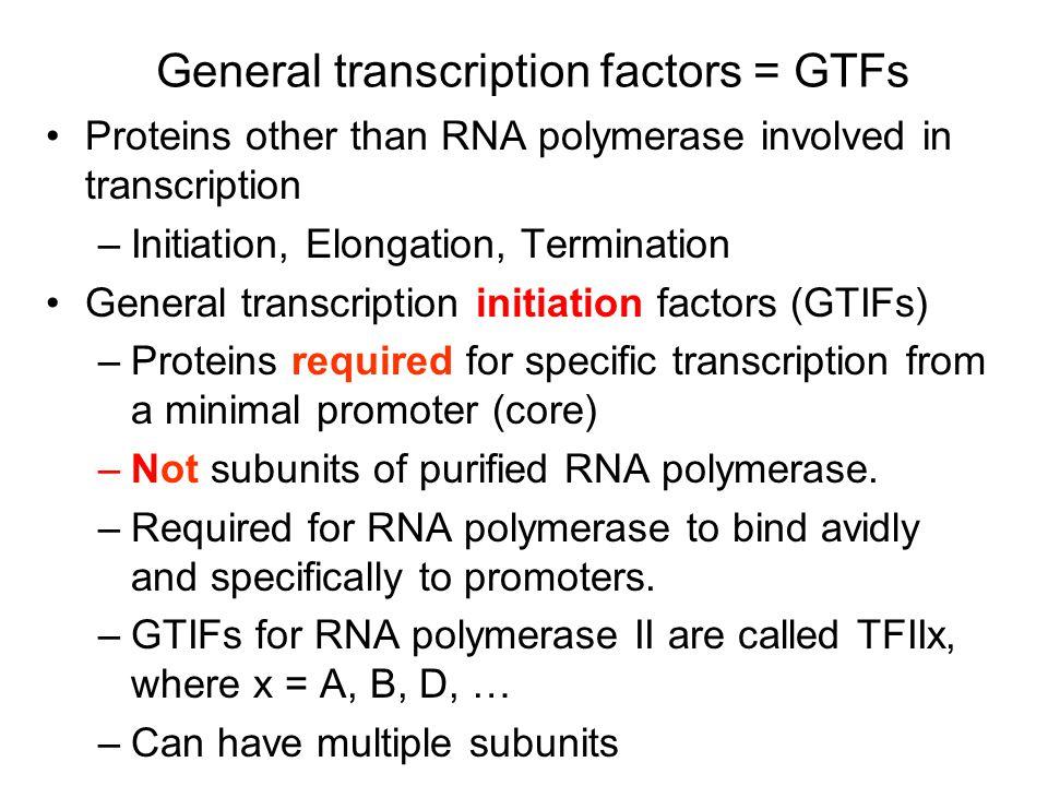 General transcription factors = GTFs
