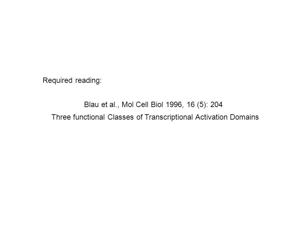 Required reading: Blau et al., Mol Cell Biol 1996, 16 (5): 204.