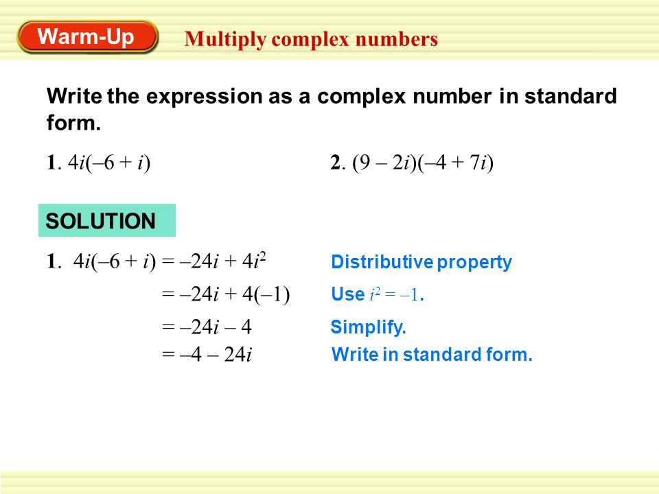 How to write complex numbers in standard form