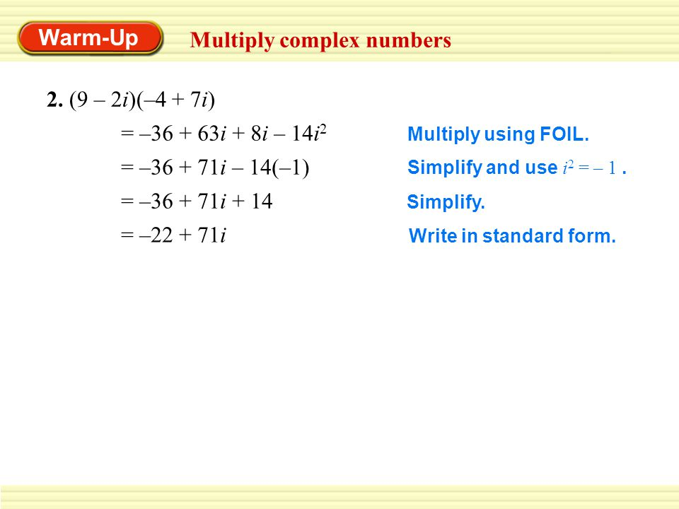 how do you write a complex number in standard form