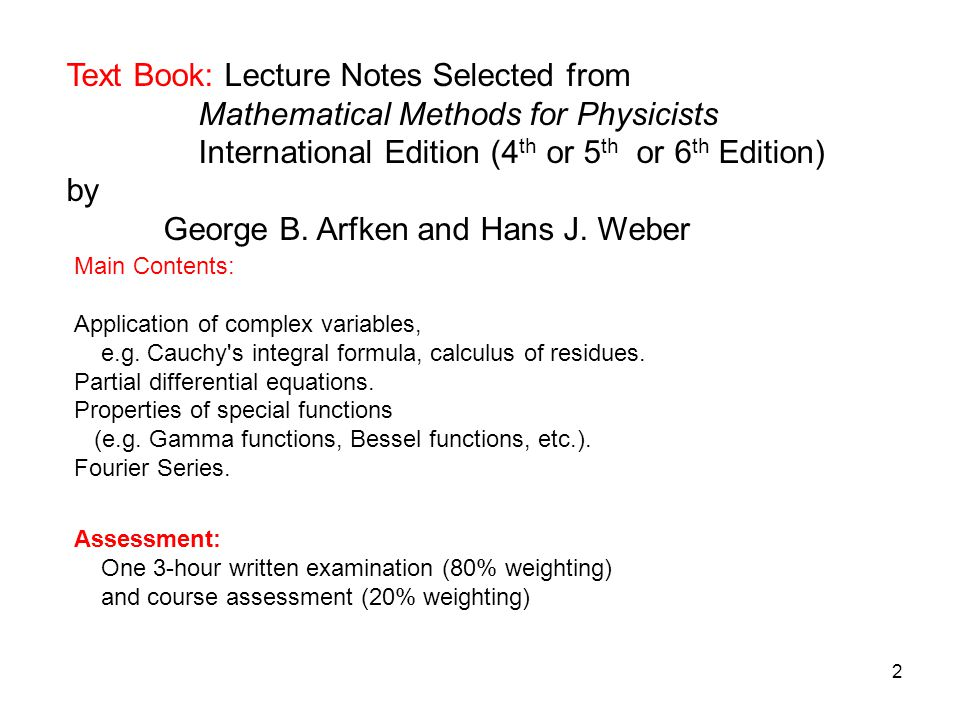 Text Book: Lecture Notes Selected from