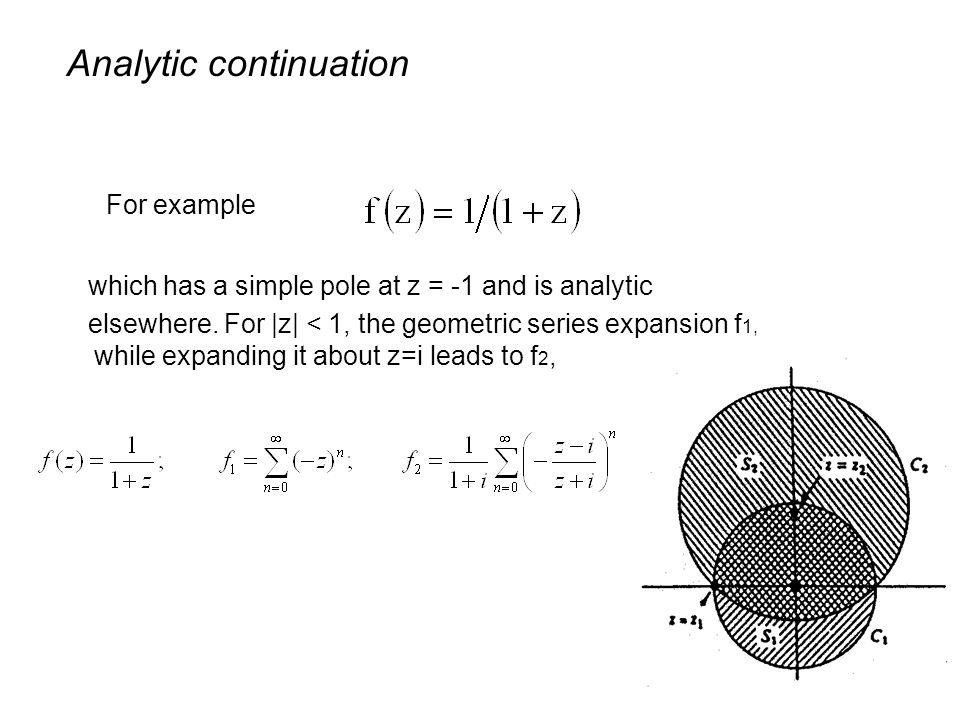 For example Analytic continuation