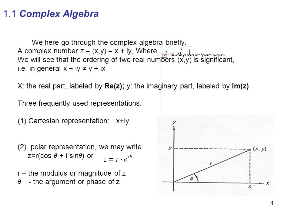1.1 Complex Algebra We here go through the complex algebra briefly.