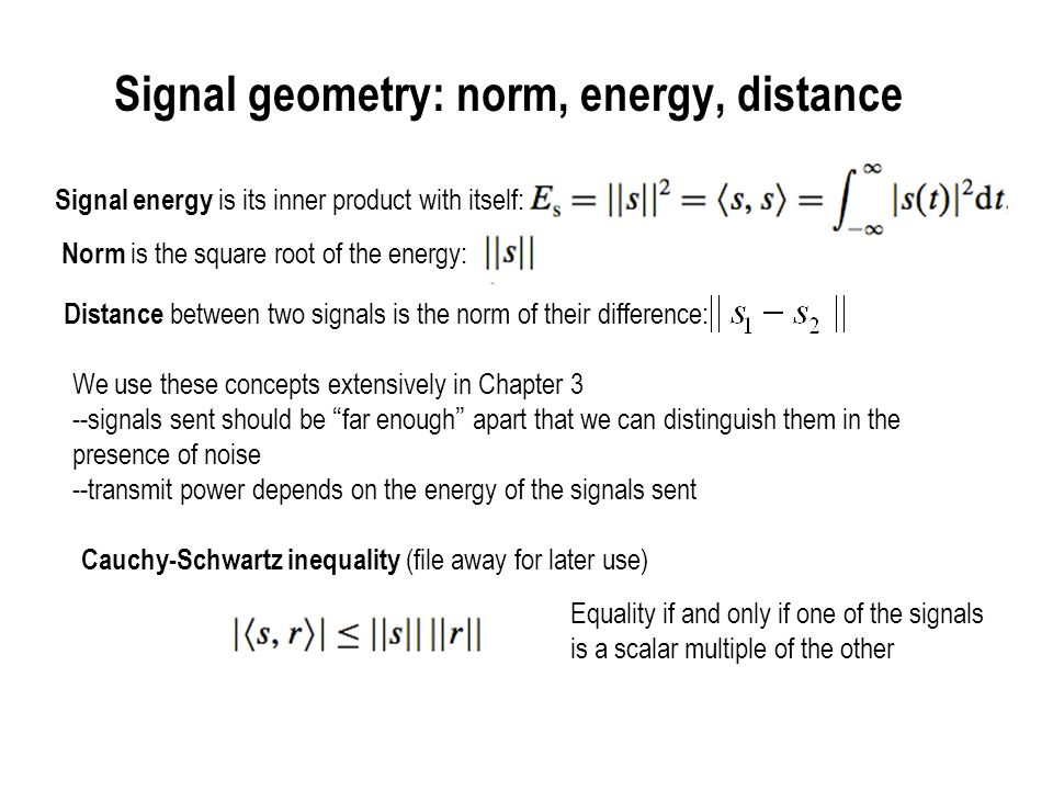 Signal geometry: norm, energy, distance