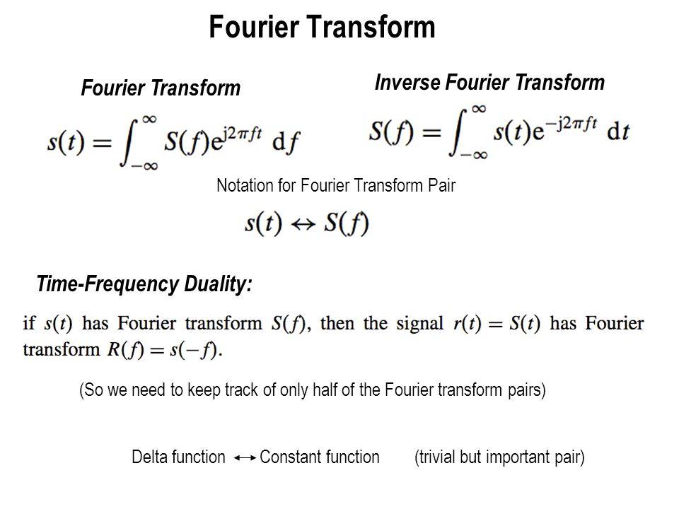 Fourier Transform Inverse Fourier Transform Fourier Transform