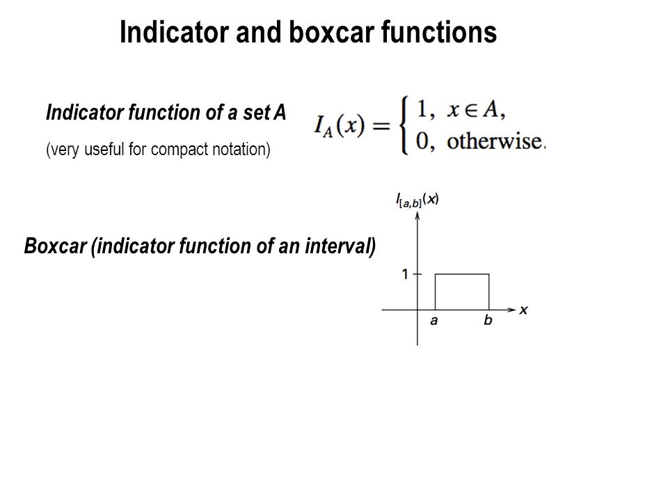 Indicator and boxcar functions