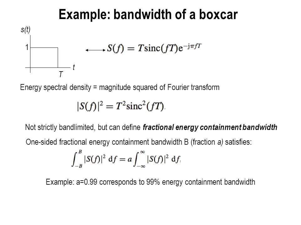 Example: bandwidth of a boxcar