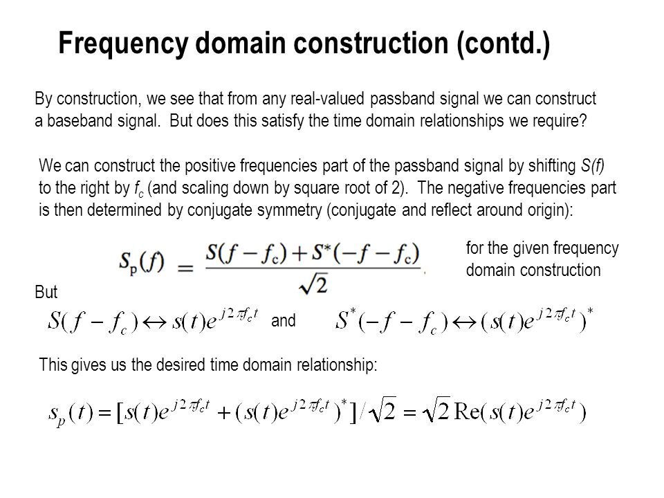 Frequency domain construction (contd.)