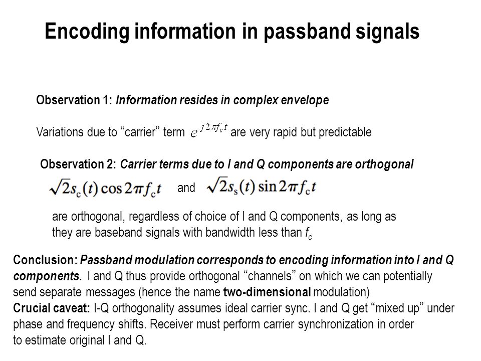 Encoding information in passband signals