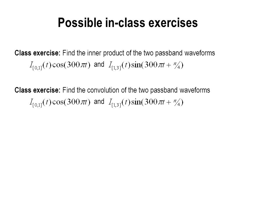 Possible in-class exercises
