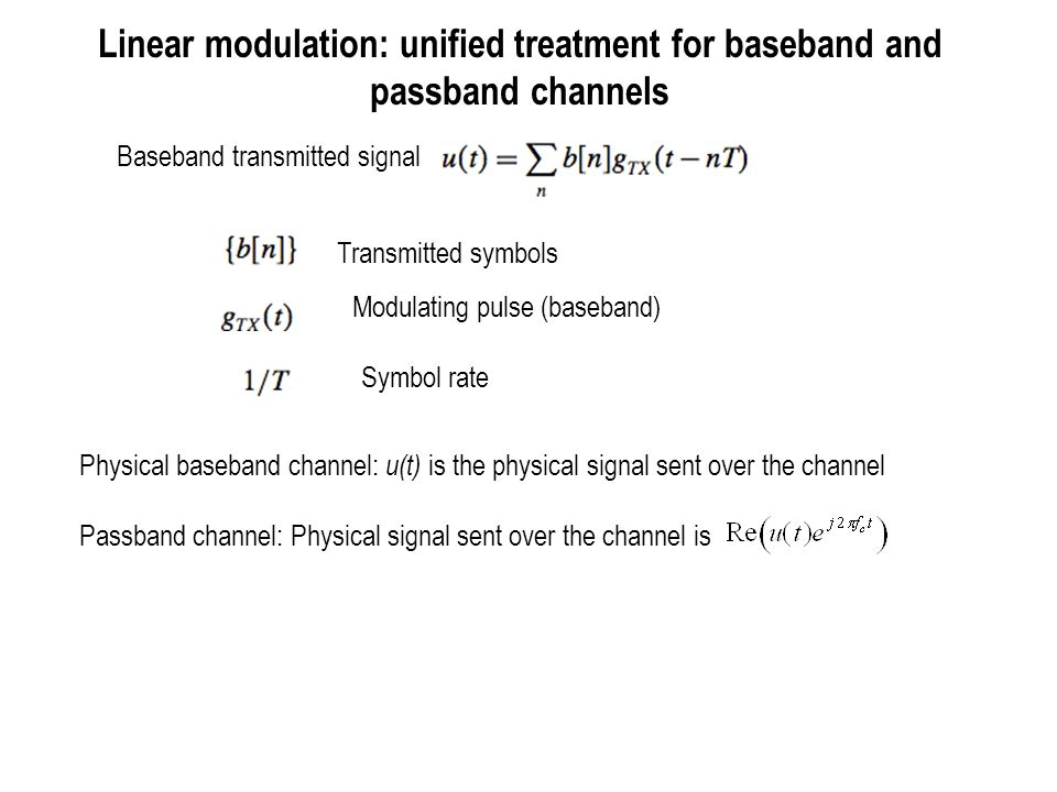 Linear modulation: unified treatment for baseband and passband channels