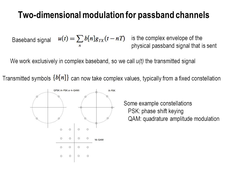 Two-dimensional modulation for passband channels