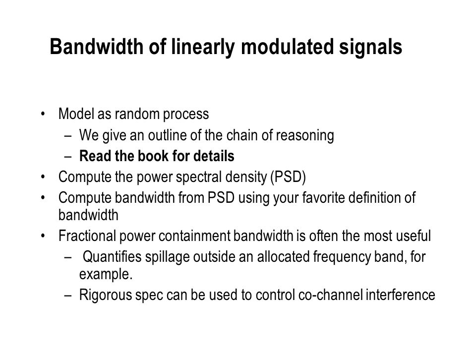 Bandwidth of linearly modulated signals
