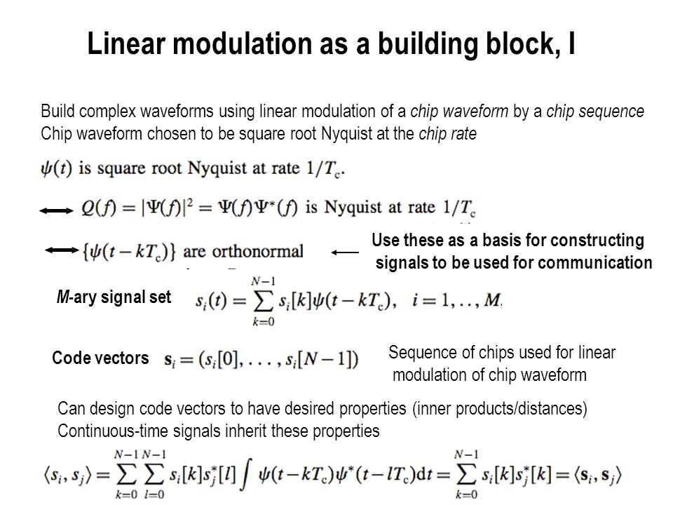 Linear modulation as a building block, I