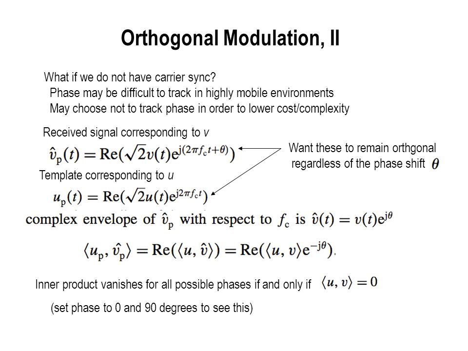 Orthogonal Modulation, II