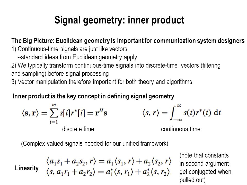 Signal geometry: inner product
