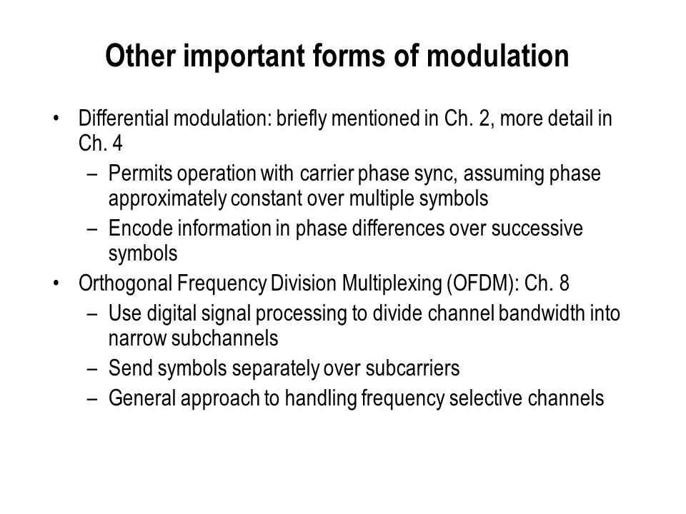 Other important forms of modulation