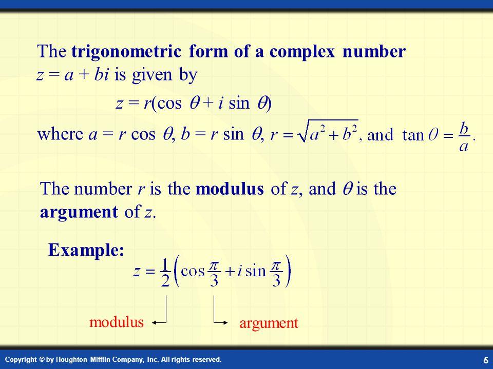 Definition: Trigonometric Form of a Complex Number