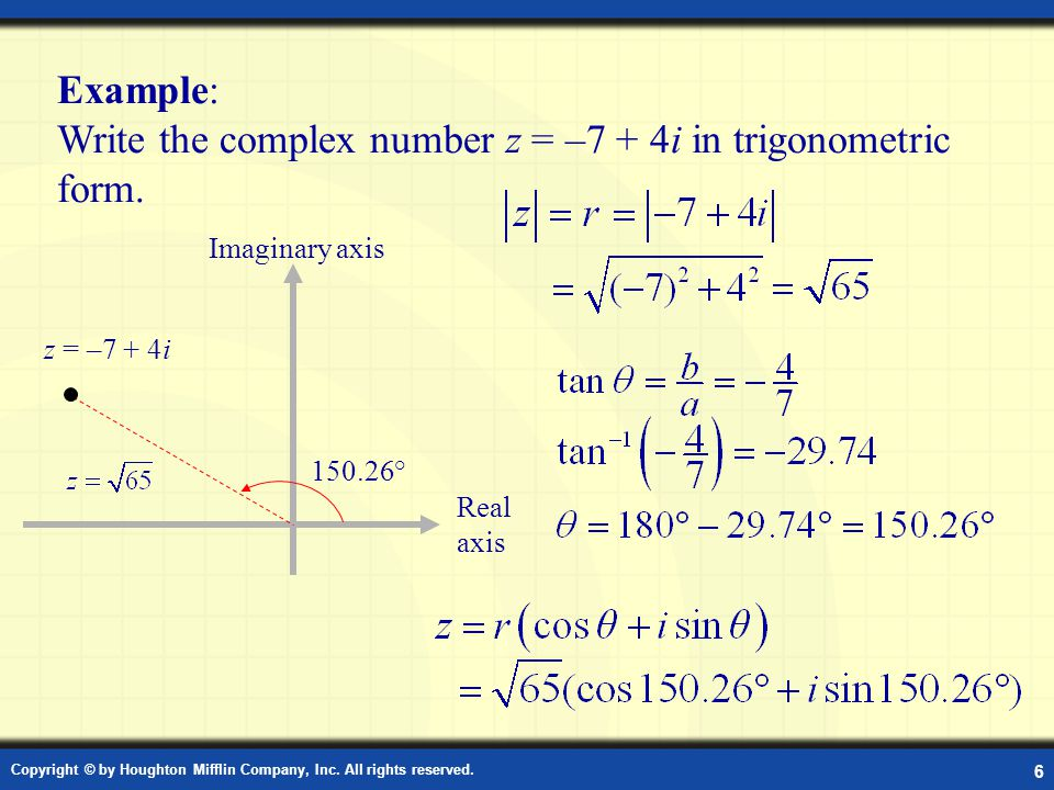 Example: Trigonometric Form of a Complex Number